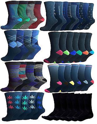 6 /& 12 Pairs Men/'s  Premium Cotton Blend Argyle Socks Blue Color UK Size 10-13