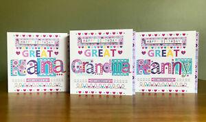 Great-Nan-Carte-D-039-anniversaire-Anniversaire-Cartes-de-Grande-Nana-Nanny-Gran-grannygrandma