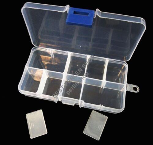 Perlenbox Perlen Kunststoff SORTIERBOX 10 FÄCHER KLAR DIY Bastelzubehör BEST B14