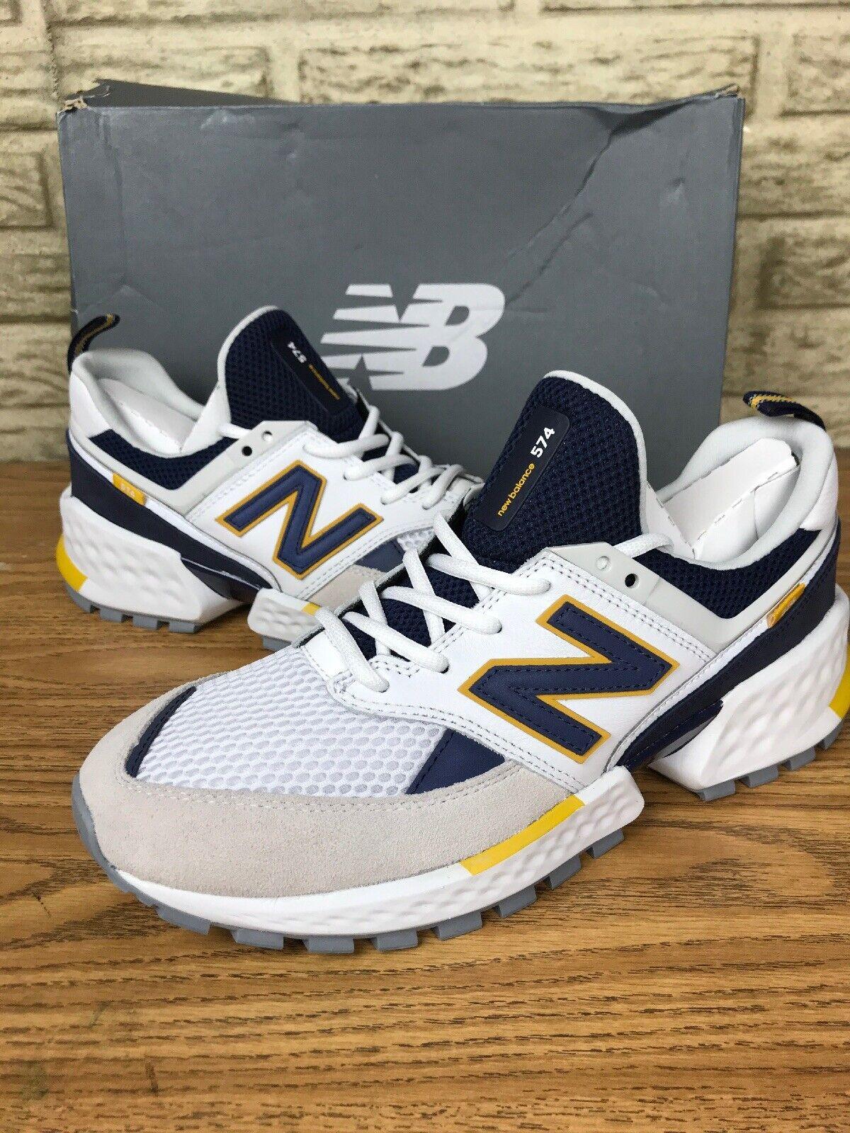 New Balance 574 Sport Lifestyle Running shoes White bluee (MS74EDD) Sz 9 D