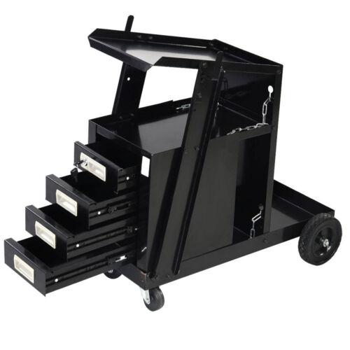 Welding Welder Cart MIG TIG ARC Plasma Cutter Tank Storage W// 4 Drawer Cabinet