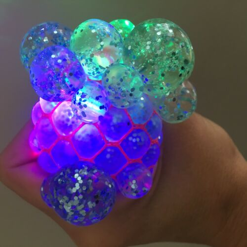 LARGE Glitter Gel Ball Squishy with flashing light Stress Anxiety Squeeze Toy