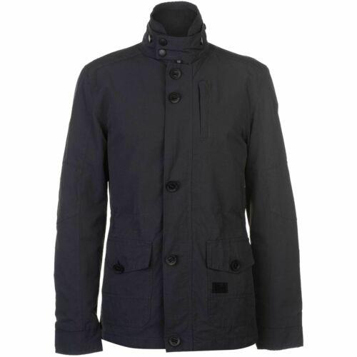 New Mens Designer Crosshatch Cotton Button Zip Up Lightweight Jacket Soft Shell