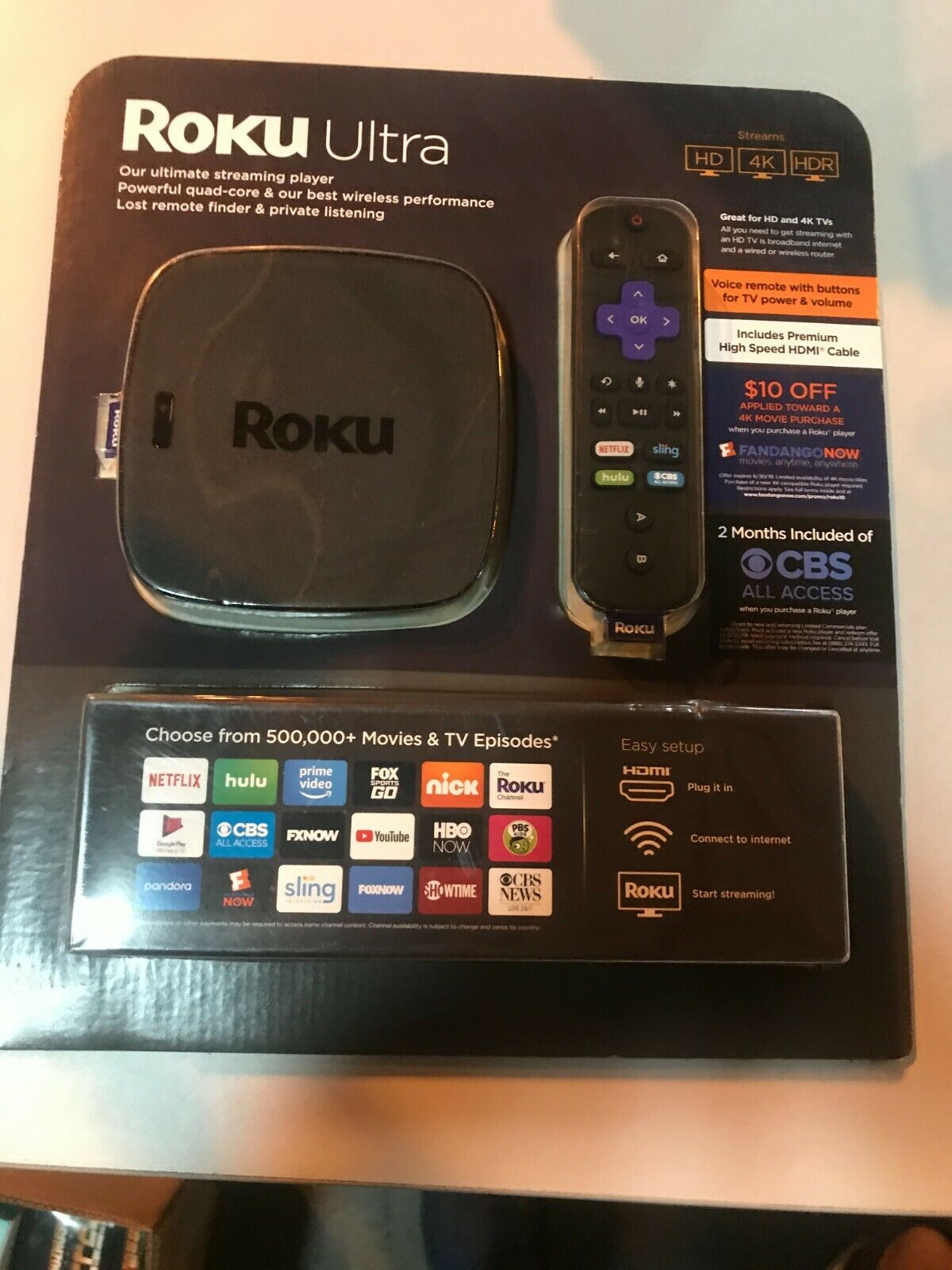 Roku Ultra Bundle 4K / HDR / HD Streaming Player with Remote & HDMI Cable bundle cable hdmi hdr player remote roku streaming ultra with