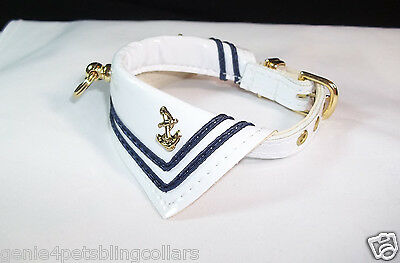 Sailor Dog Pet Collar White Patent Leather 5 sizes  Adorable! Handcrafted in USA