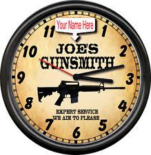 Personalized Gunsmith Firearms AR-15 Rifle Gun Shop Sales Retro Wall Clock