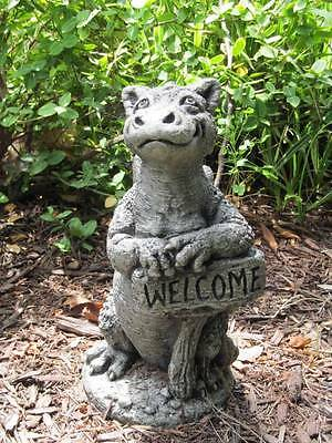 Little Darling Dragon Grinsey Stone Baby Animal Garden Statue W Welcome Sign 723239509013 Ebay