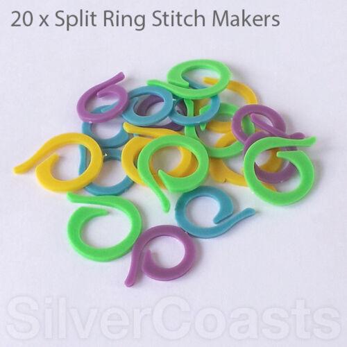 20 x Stitch Markers 22mm 27mm UK stock Open Split Rings for Knitting Crocheter