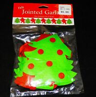 Green & Red Xmas Trees Felt Jointed Garland 5 Feet X 6 Tall - Free Shipping