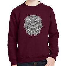 2116C Lion black and white Kids Sweatshirt Pop Culture Jungle Cat Long Sleeve