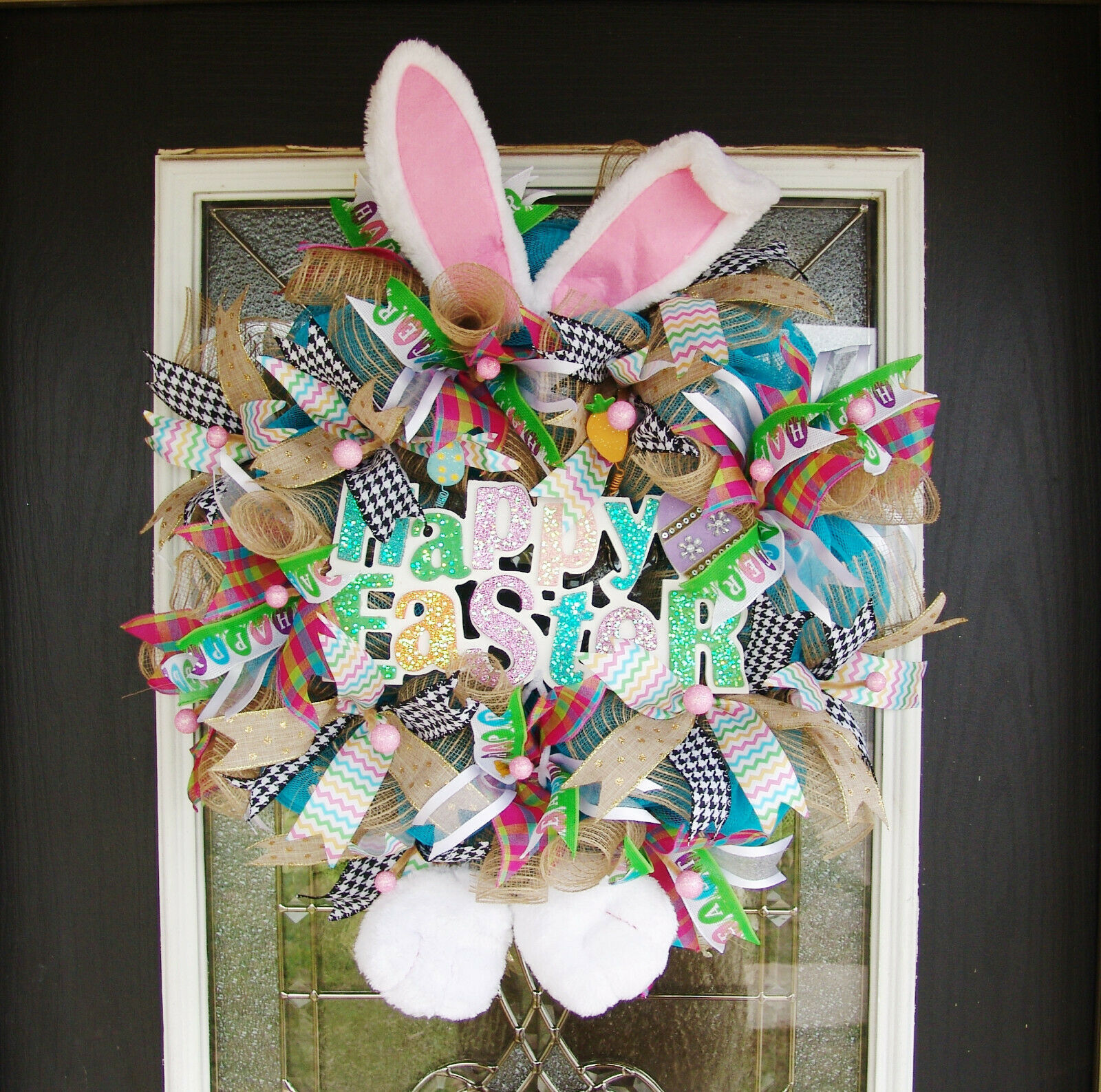 Farbeful Glitter Happy Easter Bunny Ears Feet Sign Front Door Wreath, Whimsical