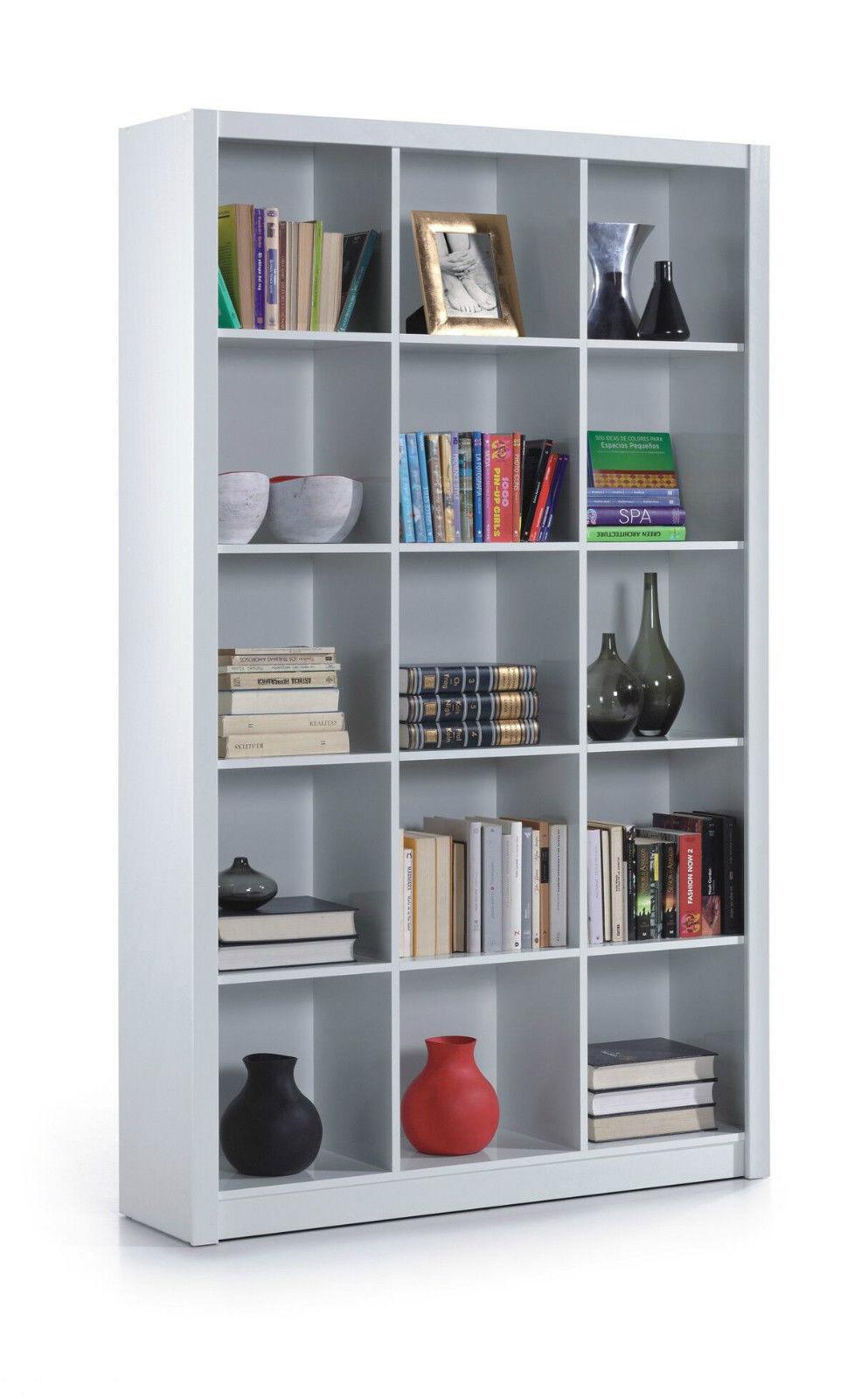 White Gloss Bookcase Office Furniture Shelf Triple Room
