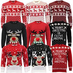 Jersey-Para-Hombre-Damas-Navidad-Navidad-Rudolf-Reno-Pom-Pom-Novedad-De-Punto-De-Invierno