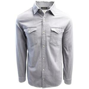Jack-amp-Jones-Men-039-s-Light-Grey-Denim-Slim-Sheridan-L-S-Shirt-Retail-59-50
