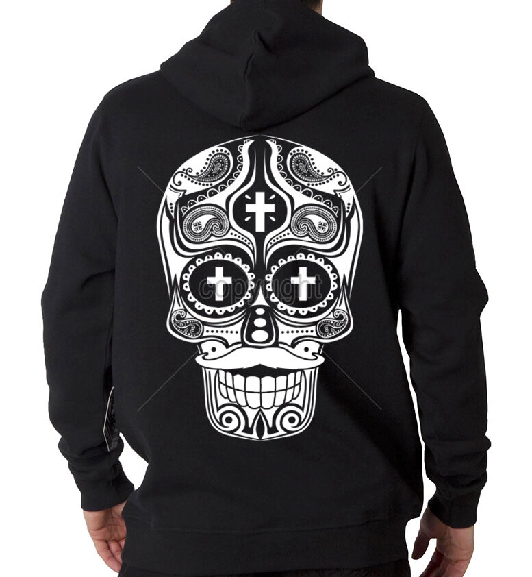 Sugar Skull Weiß Ink Day Of Dead Dia De Los Muertos Hooded Sweatshirt Hoodie