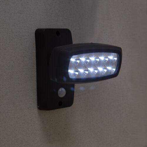 10 LED ESTERNO AD ENERGIA SOLARE FARETTO SPOT PARETE giardino terrazzo con rilevatore di movimento 1538