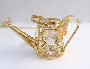 Figurine-WATERING-CAN-WITH-BUTTERFLY-24K-gold-plated-Austrian-crystals-clear