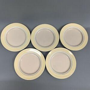 Mikasa-Moon-Glow-Stone-Craft-Yellow-Band-Beaded-Verge-8-25-Salad-Plates-Lot-of-5