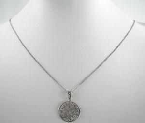 reizende-835er-Silber-Halskette-amp-925er-Silber-Anhaenger-Markasit-Vintage-4-81g