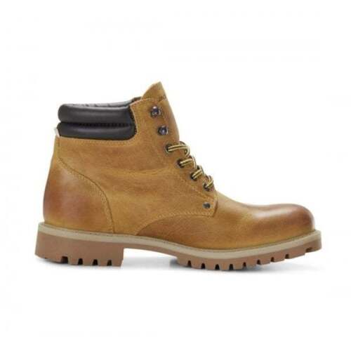 Jack /& Jones STOKE Mens Leather Rugged Lace Up Casual Ankle Boots Honey Beige