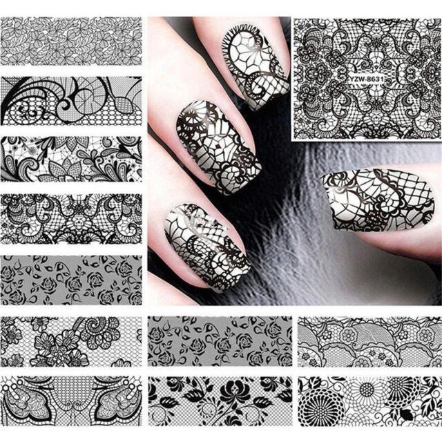 24 Sheets Diy Black Lace Full Water Transfer Nail Art Decoration