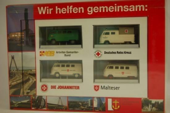 Brekina 108 VW T1 4er Set  Wir helfen gemeinsam  Ludwigshafen 1 87 NEU & OVP  | Ich kann es nicht ablegen