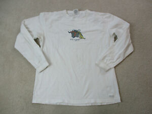 Life-Is-Good-Long-Sleeve-Shirt-Adult-Large-White-Green-Puppy-Dog-Jake-Dad-Mens