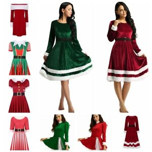 Womens Christmas Long Sleeve V Neck Velvet Maxi Dress Mrs Santa Claus Costume Adults Christmas Fancy Dress Outfit