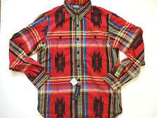 New Ralph Lauren Polo Red Plaid Indian Print Button Up 100% Cotton Shirt Slim M