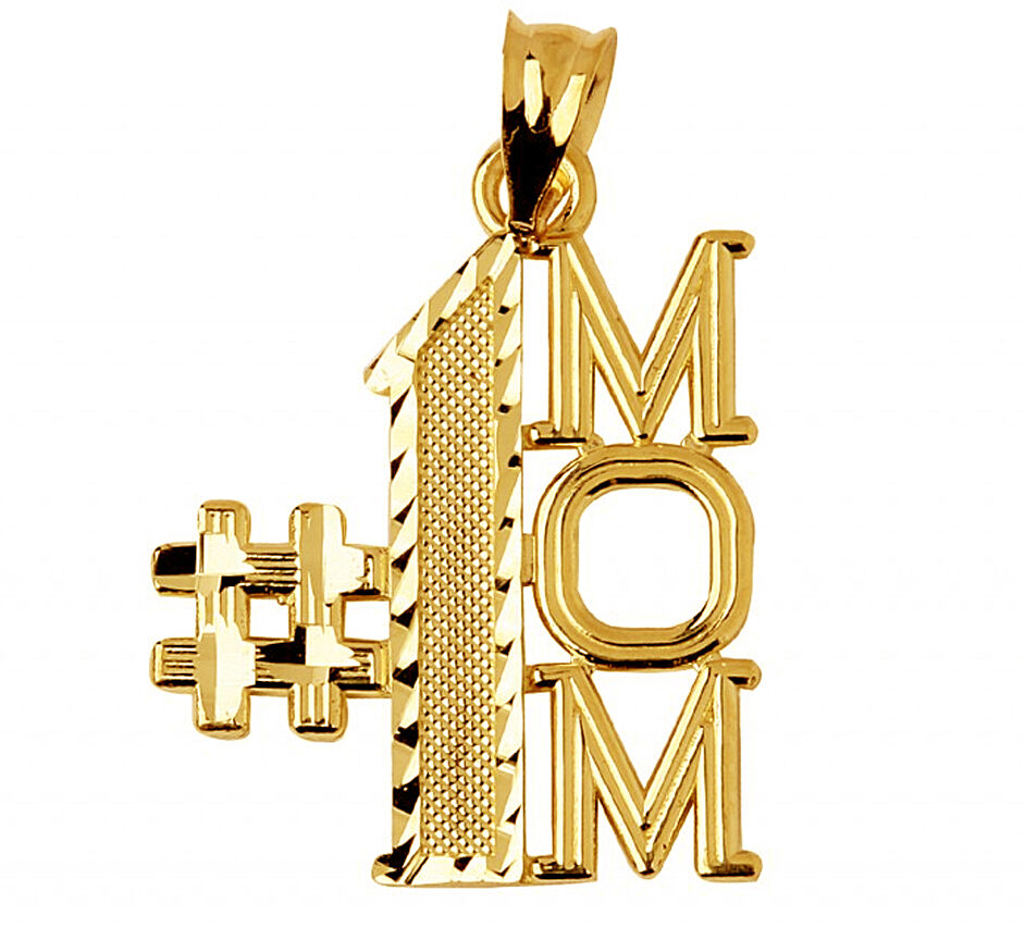 14k Yellow gold Number One Mom Charm Pendant Made in USA