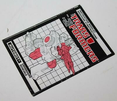 G1 Crosshairs Complete Sticker Decal Sheet