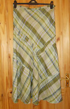 PER UNA M&S lime green gold check tartan plaid LINEN maxi riding skirt 14R 42