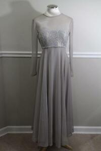 VICTOR-COSTA-BY-NAHDREE-Women-039-s-Grey-Tulle-Gown-SIZE-8-DR900