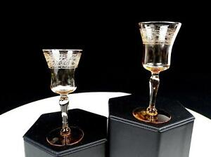 "FOSTORIA #869 ROYAL AMBER ETCHED ELEGANT GLASS 2 PC 3 1/2"" CORDIALS 1925-1933"