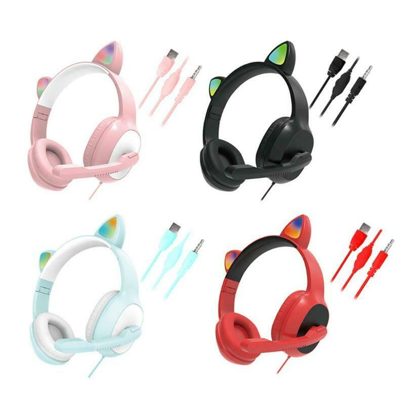 Cat Ears Gaming Headphones USB7.1 Gaming Headset for Gilrs Boys PC Stereo