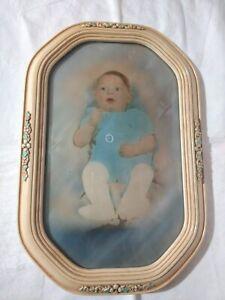 VTG-Victorian-Octagon-Bubble-Glass-Antique-Ornate-Picture-Frame-Infant-Nursery