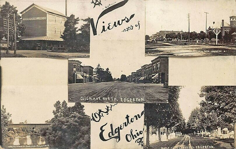 Edgerton OH Multi-View Streets Covered Bridge Milling Real Photo Postcard