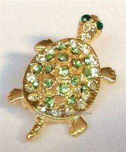 Gold-Crystal-Sea-Life-Turtle-Pin-Brooch-Necklace-Pendant-Plated-Green-Nautical