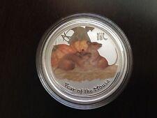 2008 Australia Lunar Mouse 50c 1/2oz .999 Pure Silver Colorized Bullion Coin