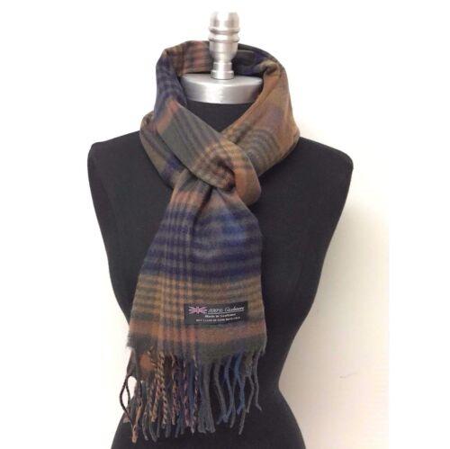 Men/'s 100/% CASHMERE SCARF Scotland Soft Wool Wrap Plaid Dark Green//Eggplant//Rust