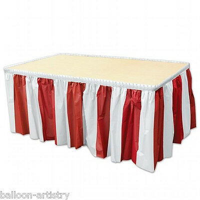 RED & WHITE STRIPE Pirate Party Table Skirting Striped Stripes Decoration