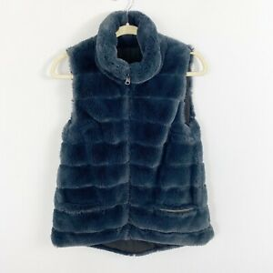 Dylan-Faux-Fur-Blue-Black-Reversible-Vest-Size-XS-SO-SOFT-Pockets-Sleeveless