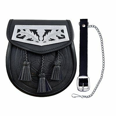 Geprägt Leder Felltasche mit Distel Design Chrom Platte 3 Quasten Felltasche
