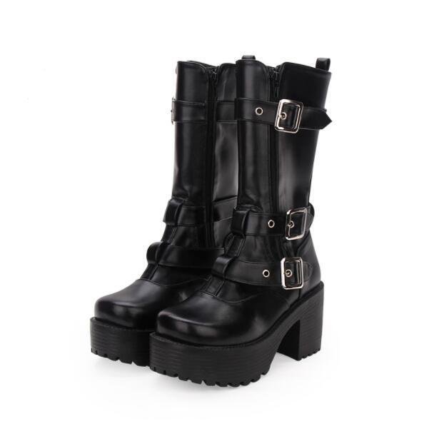 Womens Fashion Punk Buckle Strap Gothic Chunky High Heels Muffins High Boots