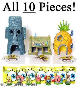 SpongeBob-Aquarium-ALL-10-PIECES-New-Toy-Character-Fish-Tank-Ornaments-Set-NEW