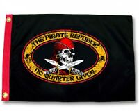 "PIRATE REPUBLIC  BOAT FLAG 12X18"" PIRATE JOLLY ROGER"