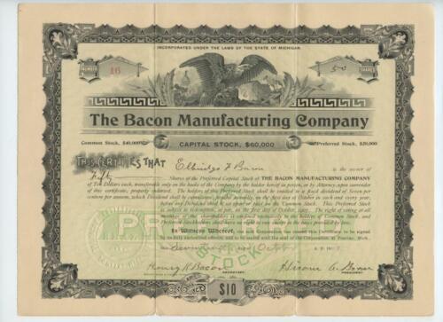 1903 Bacon Manufacturing Company Preferred Stock Certificate Pontiac Michigan