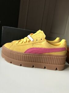 quality design ff033 f0527 Details about PUMA FENTY Rihanna Suede Cleated Creeper Lemon Yellow Pink  Trainer Size 5 38