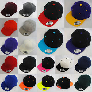 Image is loading NEW-PLAIN-FLAT-PEAK-RETRO-SNAPBACK-HAT-CAP- 6d8476c93da