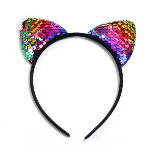 Fashion Sequins Girls Cute Cat  Hairband Headband Hair Hoop Band Accessories